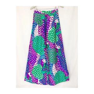 "Vtg 60s Floral Maxi Skirt Hippie Mod Small 24""W"